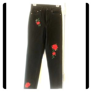 H&M high-waist flower embroidered black jeans NWOT